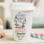 "Tazza take away ""Wake up and make your dreams come true"""